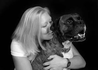 Keller photography photo of boxer dog and owner