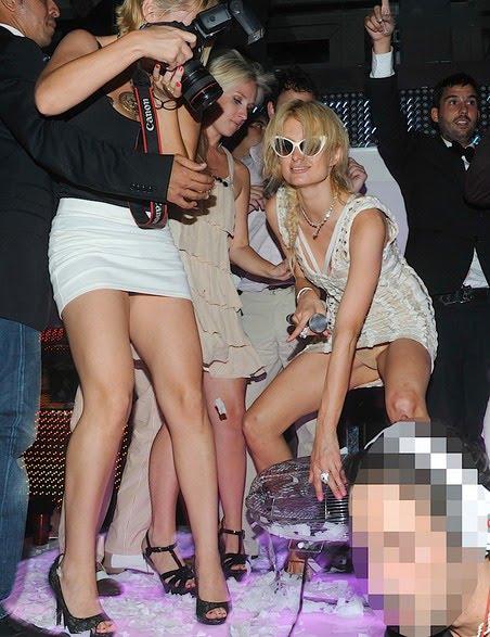 Paris Hilton Gives Club-Goers Crotch Flash [PHOTOS]