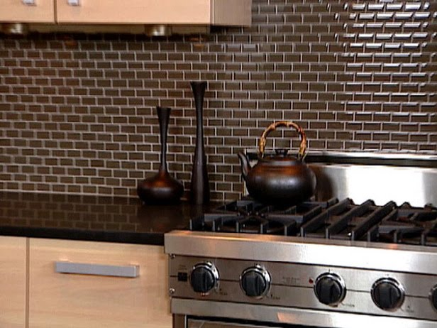 Mini subway tile kitchen backsplash