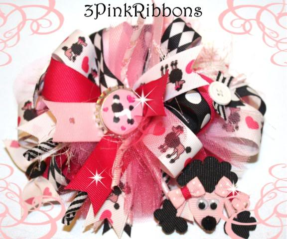 Pink Poodle Boutique Bow and Ribbon Art Poodle Clippie