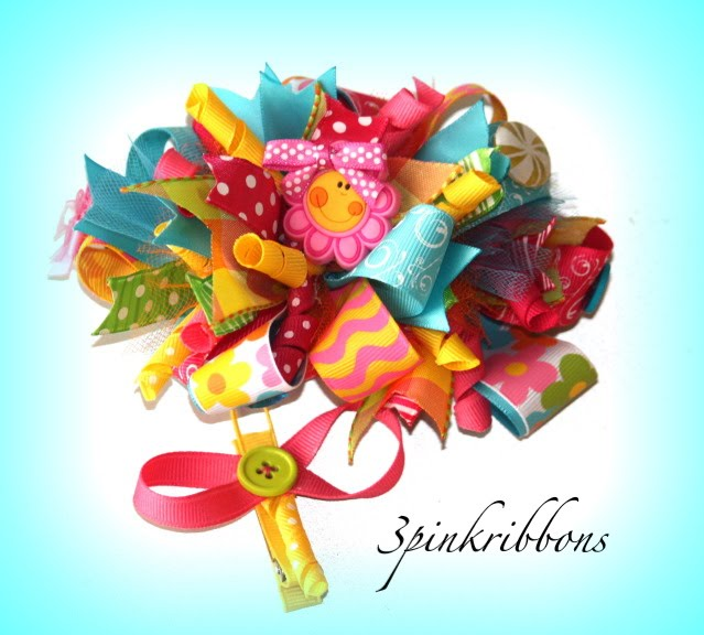 FireFlies and Flowers Boutique Loopy Bow and Ribbon Art Clip