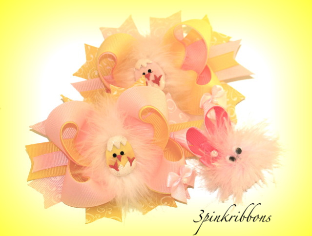 Spring Chicks Pastel Bows with Bunny Marabou puff clippie