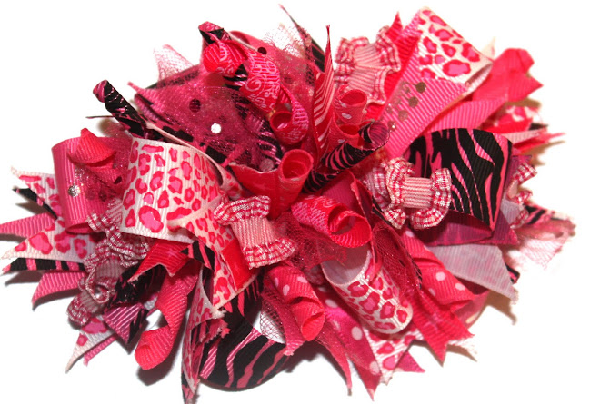 BubbleGum Pink Zebra and Leopard Bling Bow!
