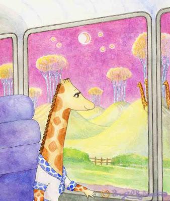 Maureen Treeging on the Giraffe World Tours bus by Ingrid Sylvestre North East giraffe artist author and entertainer Durham UK