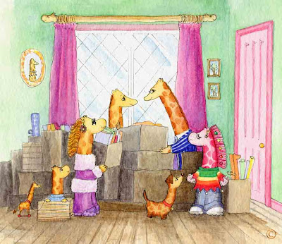 The Neckmann family of giraffes moving to Necky Knoll House by Ingrid Sylvestre North East artist author and entertainer Durham UK