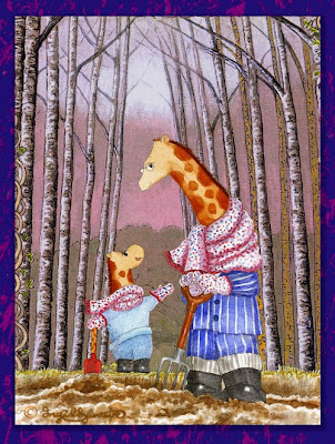 Giraffes Raph G Neckmann & Littl' Nicky digging the garden - Raph's Ramblings by Ingrid Sylvestre UK artist & author