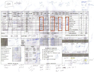 My Nav Log for the day. Total distance traveled: 303 NM (560KM)