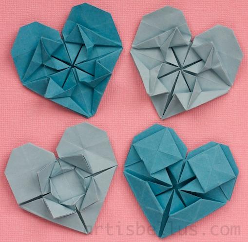 valentines origami. squares of origami paper