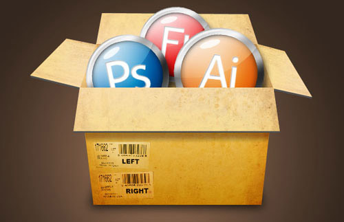 Create a Cardboard Box Filled With Glossy Icons Photoshop tutorial