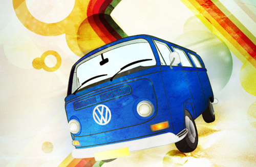 How to Create a Retro Hippy Van Poster Photoshop tutorial