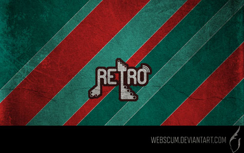 Retro red and green wallpaper