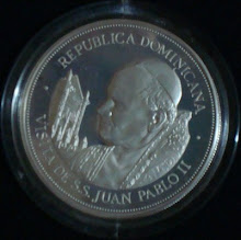 Moneda de 25 pesos de 1979, visita del papa Juan Pablo II a Santo Domingo
