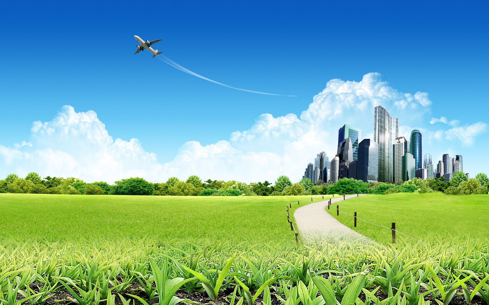 Pleasant Green & Sky Background Wallpapers