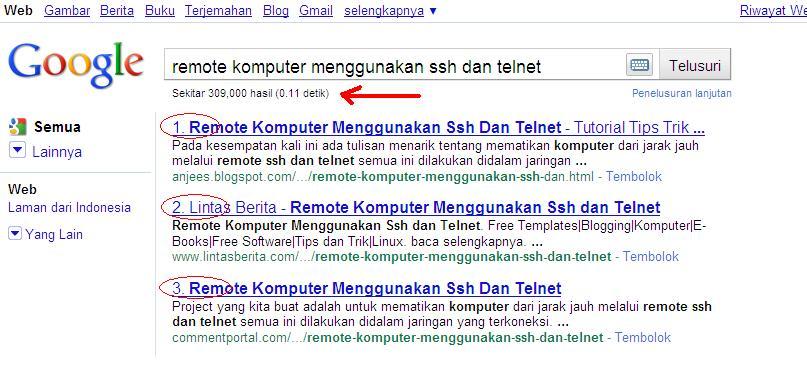 Trik Menampilkan Nomor Urut Pencarian Google
