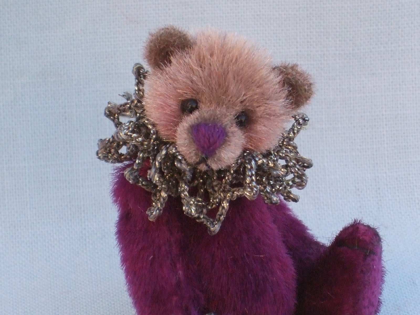 Louise Peers December 2010 Wrist Bear Pink Lavinia Is A 2 Inch Made From Vintage Long Pile Velvet With Onyx Eyes She Wears Silver Metallic Ruffle And Her Own Crystal Bauble On