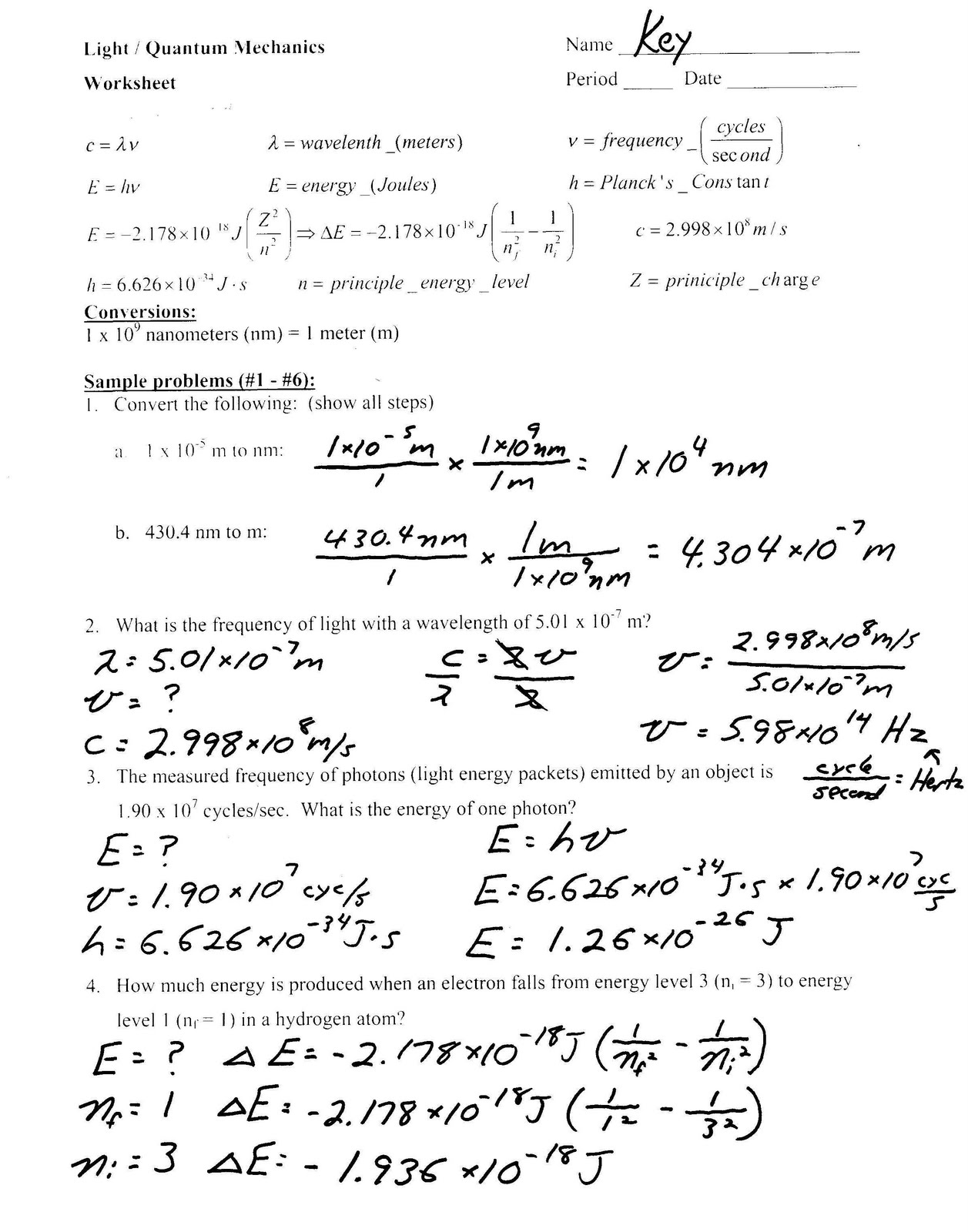 Heritage High School Honors Physical Science Light Worksheet – Bohr Model Worksheet Answers
