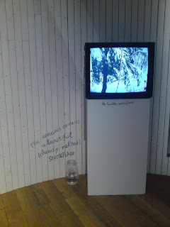 A television against a wall shows a snowy tree. Underneath the television, 'the humble snowflake' is written in handwriting. Next to the television stand, on the floor, stands a jar with a layer of water. On the wall over the jar, clumsy blue handwriting says, 'The Remains of me as a beautiful (already melted) snowflake'.