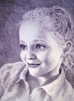 A realistic charcoal portrait of a young girl, white, approximately 6-7 years of age, smiling.