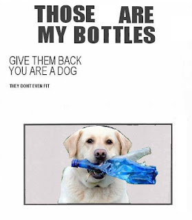Those are my bottles.  Give them back you are a dog.  They don't even fit.