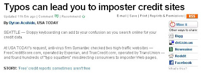 Typos can lead you to imposter credit sites