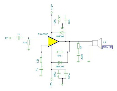 TDA2030 Power <a href='http://www.circuitlab.org/search/label/amplifier' title='amplifier circuits'>amplifier</a> Circuit