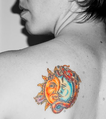 sun, moon and dragon tattoo