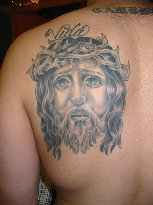 tattoos back. Jesus Face Tattoo, Back