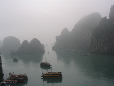 Misty morning at Ha Long Bay