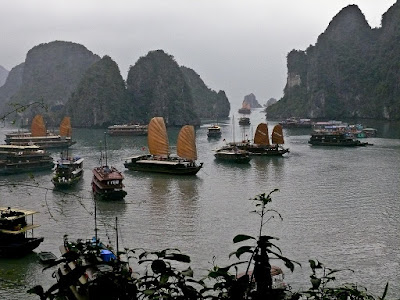 Tourist boats at Ha Long