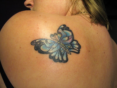 Blue Butterfly Tattoo, Upper Back