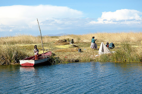 uros, floating reed, Lake Titicaca