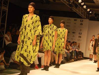 Models display creations by designer Kallol Datta during the Day 2 of 'Kolkata Fashion week II' on September 10, 2009.