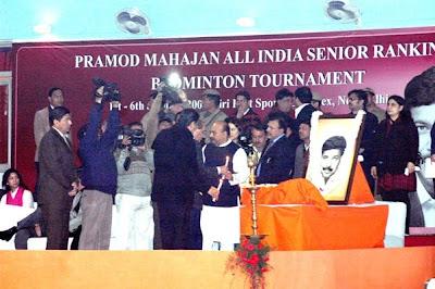 Sudhanshuji attending Pramod Mahajan All India Senior Ranking Badminton Tournament