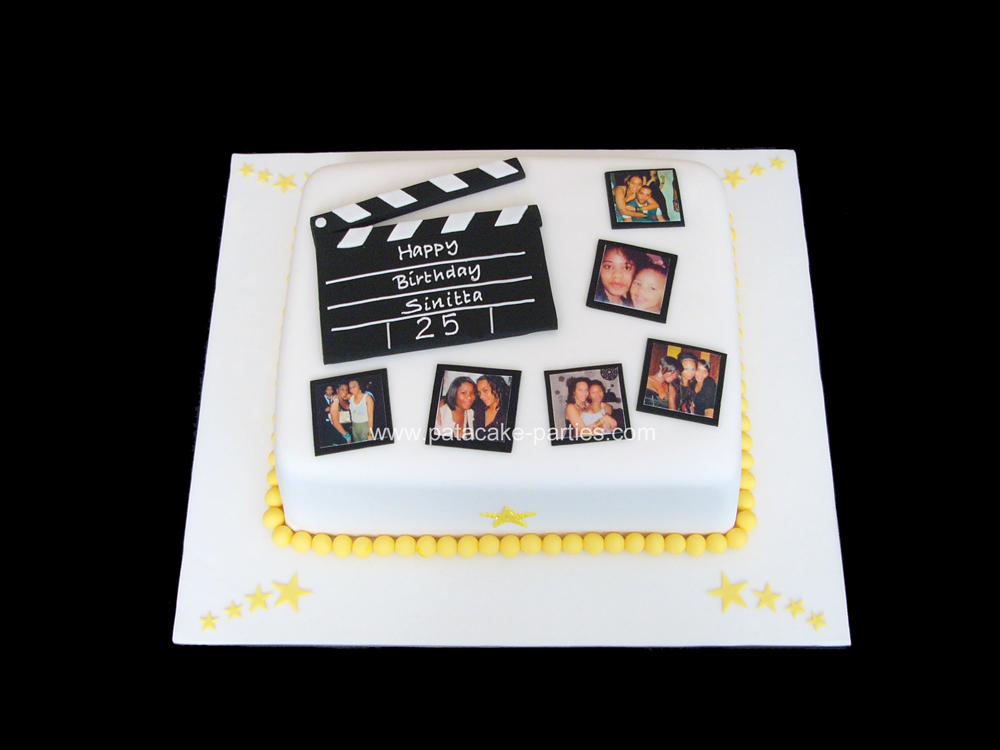 "Clapperboard Cake 10""x8"" vanilla sponge with jam and buttercream,"