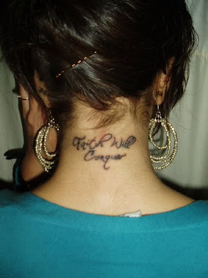 faith will conguers tattoo font on neck girls