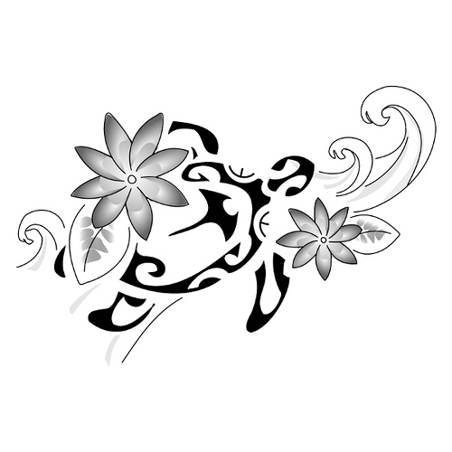 maori tattoo designs -polynesian flower tattoo
