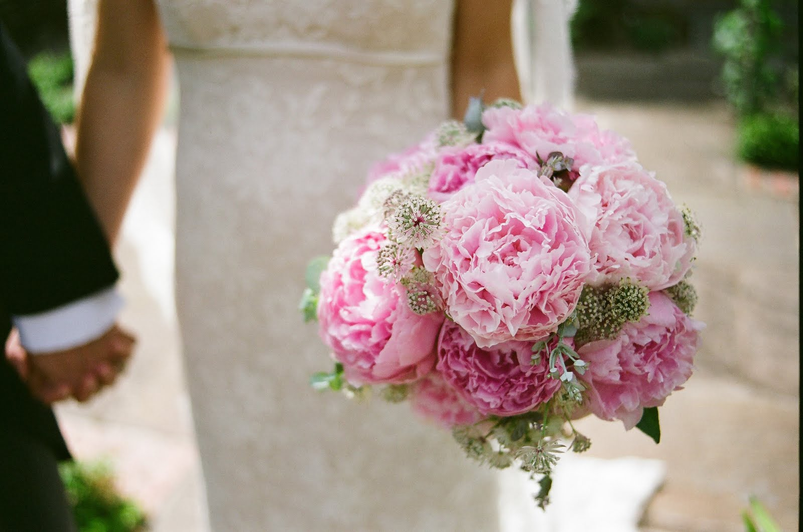 astrantia peony peonies pink wedding bouquet vintage romantic lace