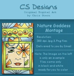 nature goddess digital stamp
