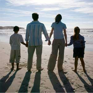 photo of a family on a beach