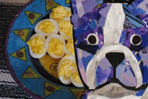 Bosty the Boston Terrier and Deviled Eggs by collage artist Megan Coyle
