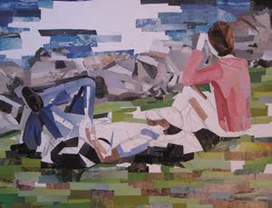 Riverside Loungers by collage artist Megan Coyle