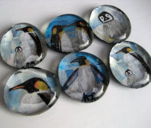 Penguin Magnets by collage artist Megan Coyle