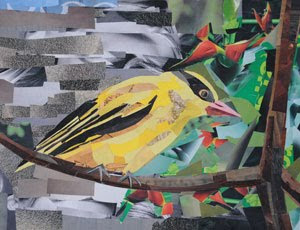 Yellow Bird by collage artist Megan Coyle