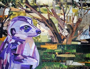 Purple Meerkat by collage artist Megan Coyle
