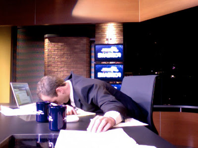 John Weisbarth asleep at the Padres Postgame desk in extra innings