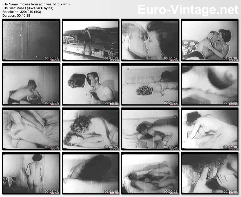 A Black and White Vintage porn movie, with a very hot couple, ...