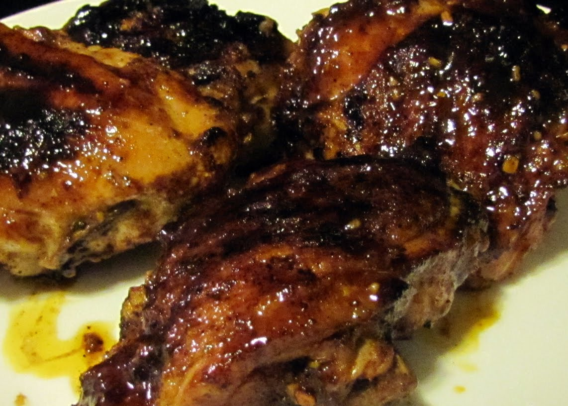 Hoisin-Glazed Chicken Thighs hot from the cast iron grill