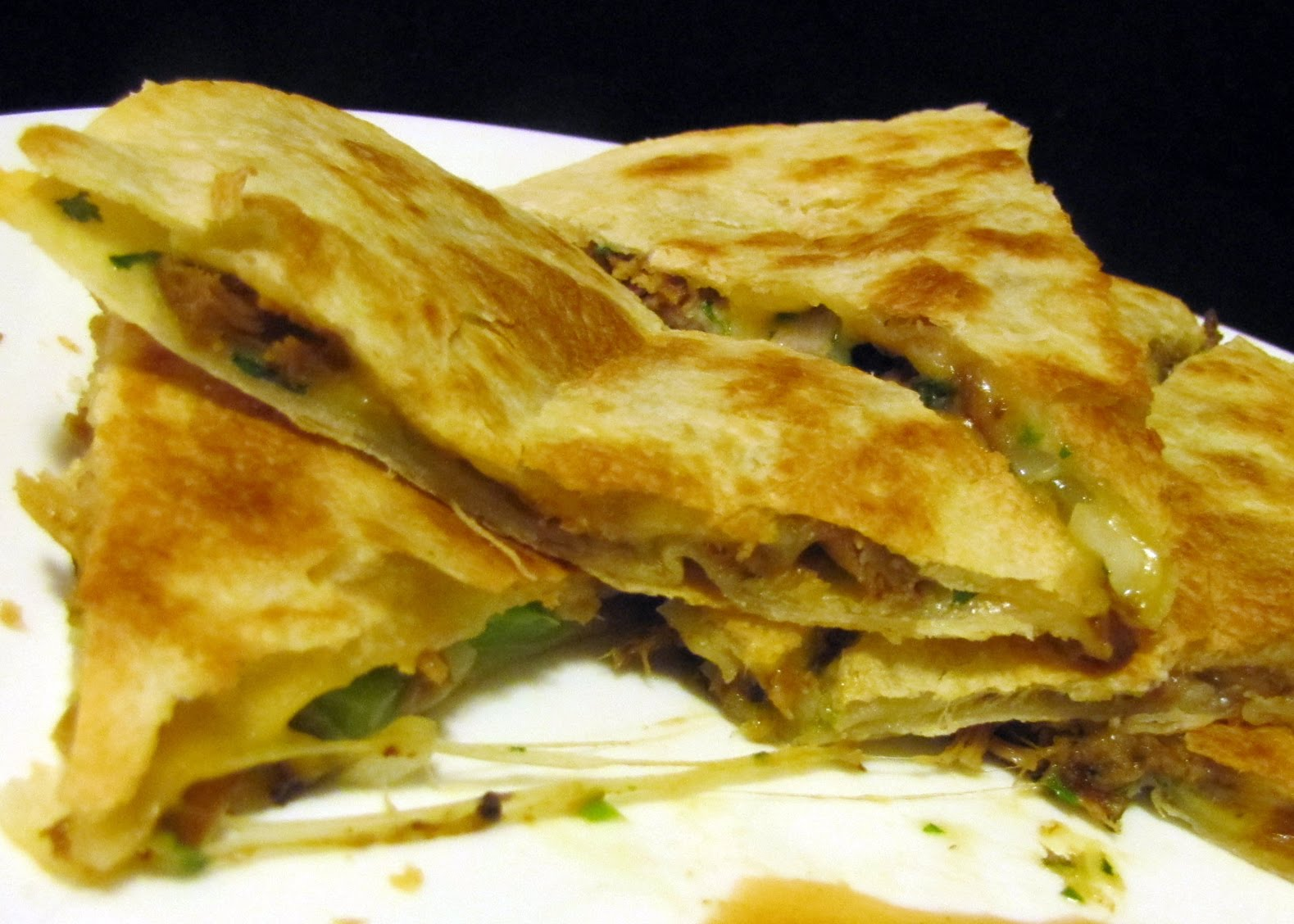 Smells Like Food in Here: Andy's Spicy Green Chili Pork Quesadilla