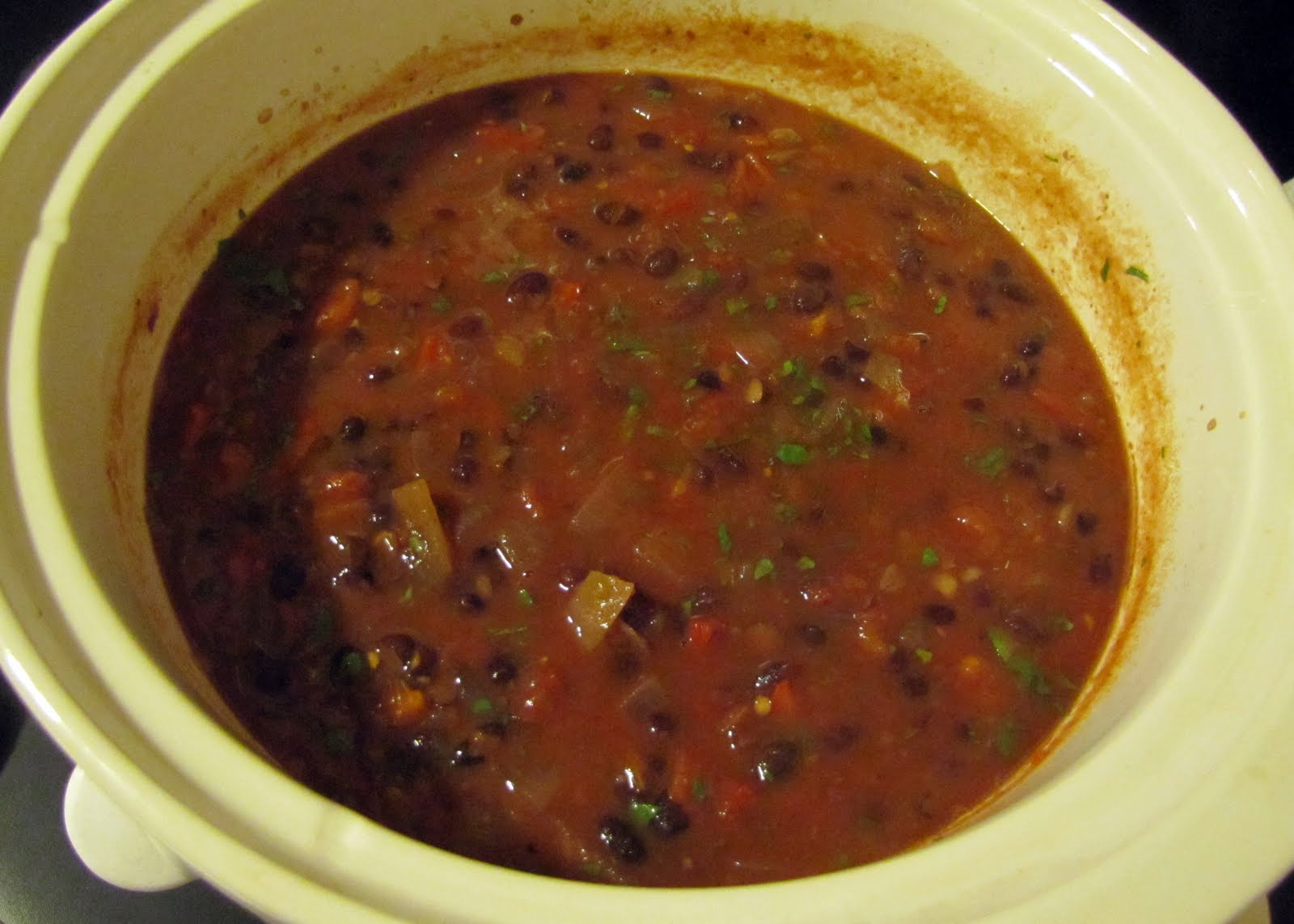 Slow Cooker Black Bean Soup ready for serving straight from the Crock ...