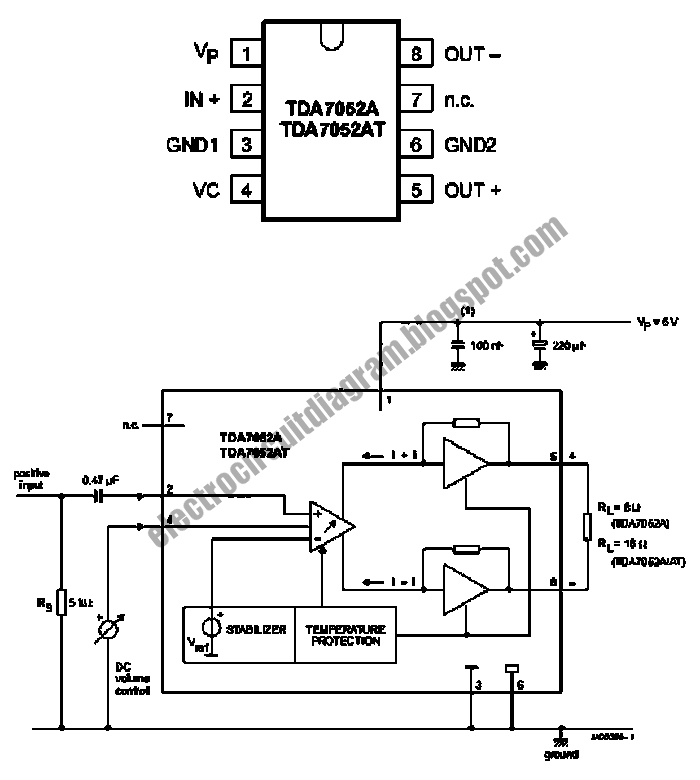 electro circuit diagram  btl mono amplifier with dc volume